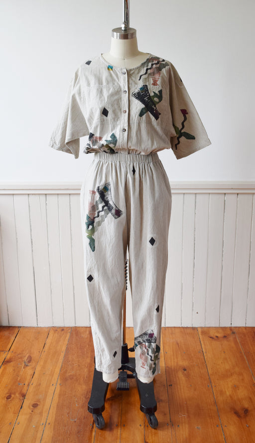 Hand Painted Play + Jump Suit by Alegre | 1980s | S/M
