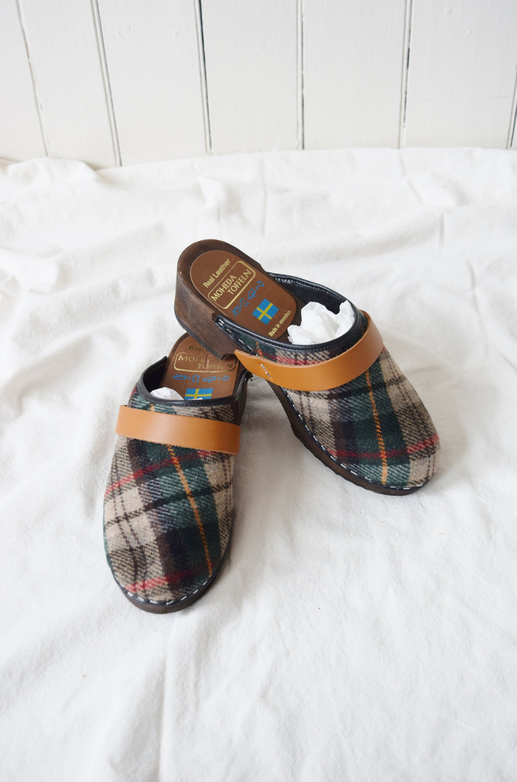 Classic Swedish Clogs in Fall Plaid by Moheda Toffeln | US 6.5 (EU 37, UK 4.5)