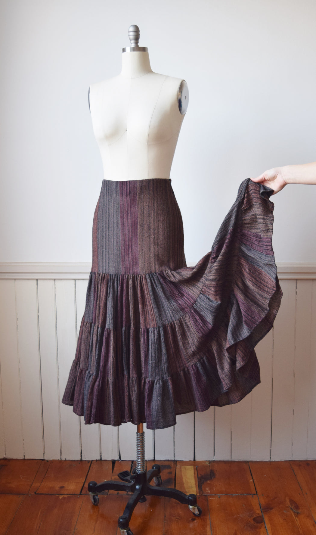 1990s Norma Kamali Wool Tiered Skirt | M