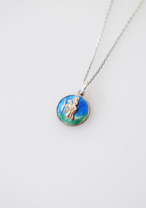 Vintage Silver and Enamel St. Christopher Charm/Amulet Necklace