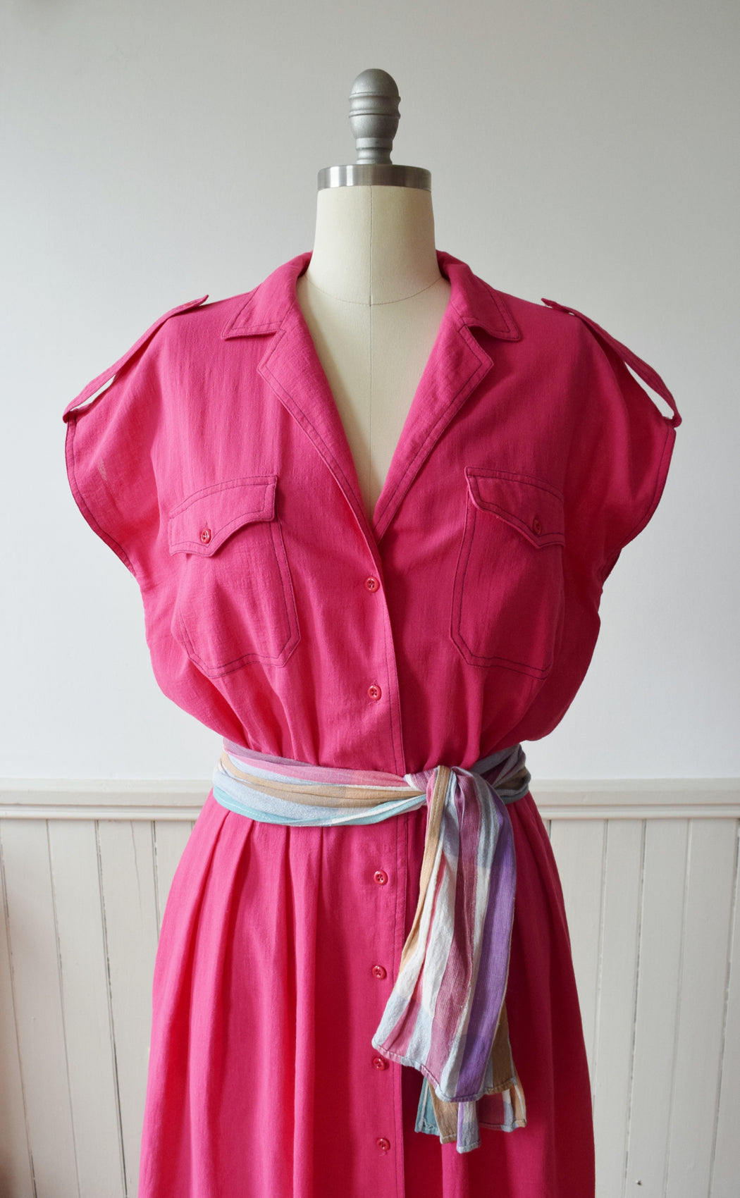 Vintage Watermelon Pink Dress by Jaeger | 1980s | M/L