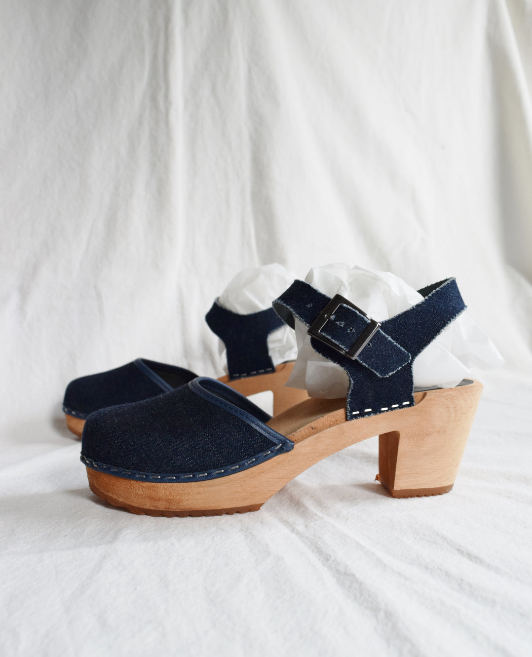 Classic Swedish Clogs in Denim and Wood | US 8 / EU 39