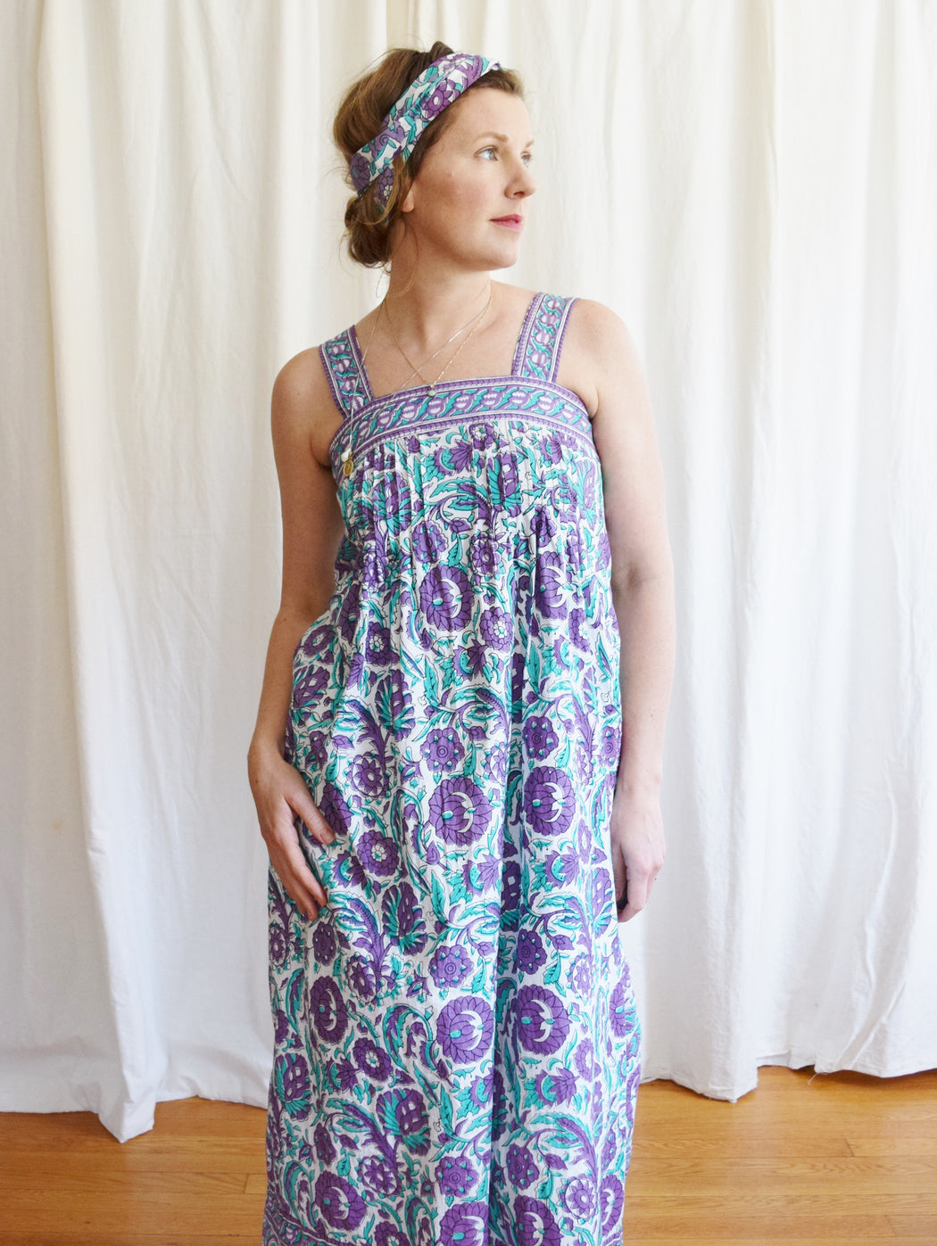 1970s Ramona Rull Indian Block Print Maxi Dress