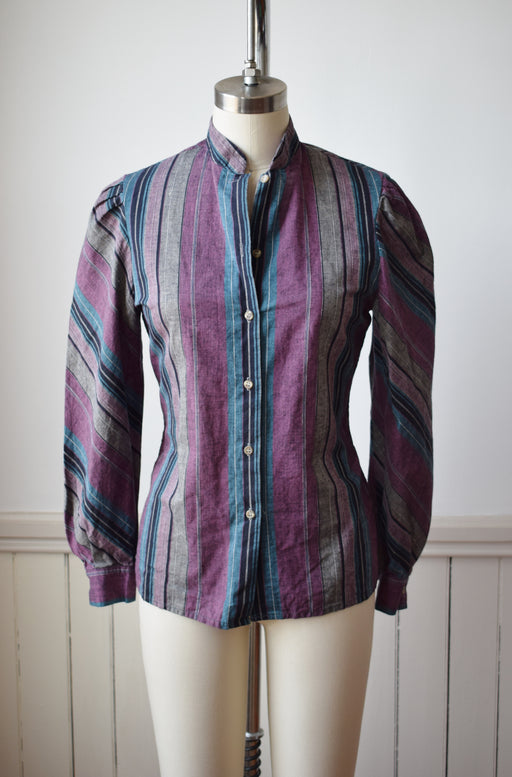 Vintage Striped Puff Sleeve Button Down | M