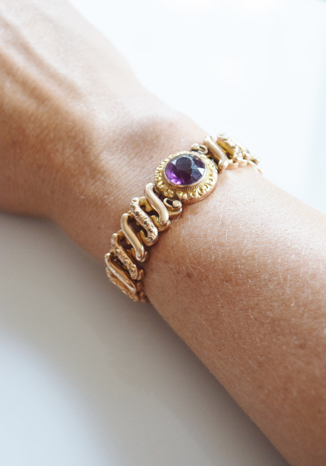 Victorian Revival Sweetheart Expansion Bracelet with Amethyst Stone | 1940s