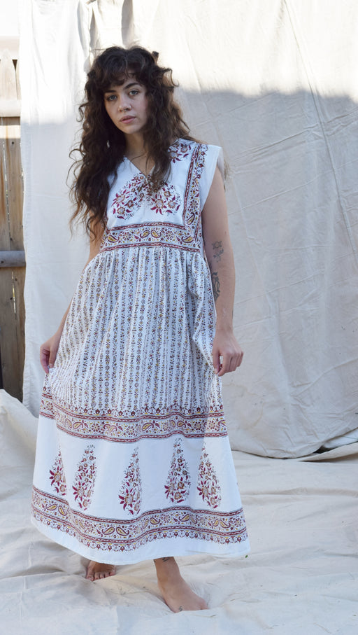 RESERVED Donna Dress in White w/ Earthy Blockprint | XS/S/M