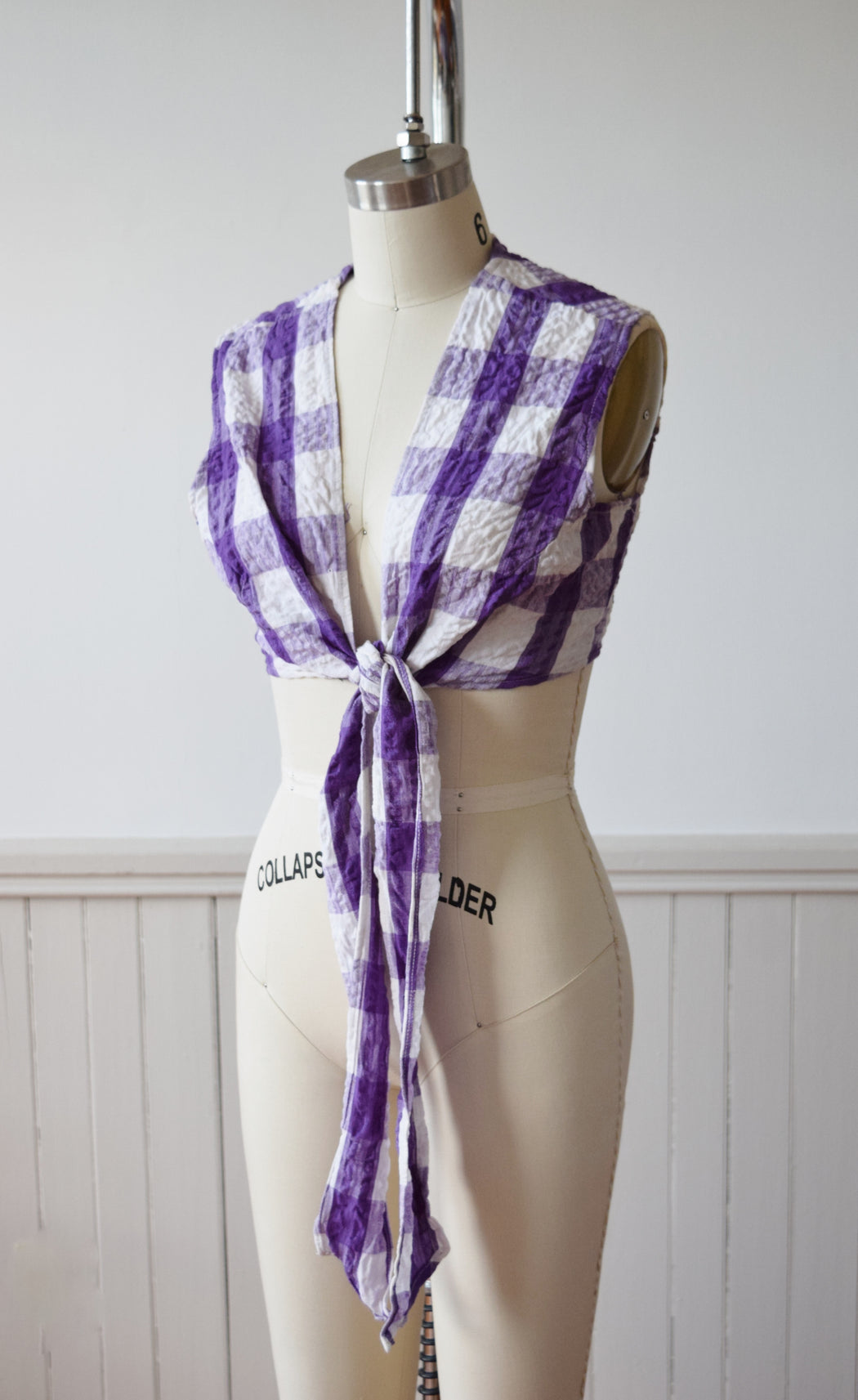 Gingham Wrap Top | 1970s | S/M/L
