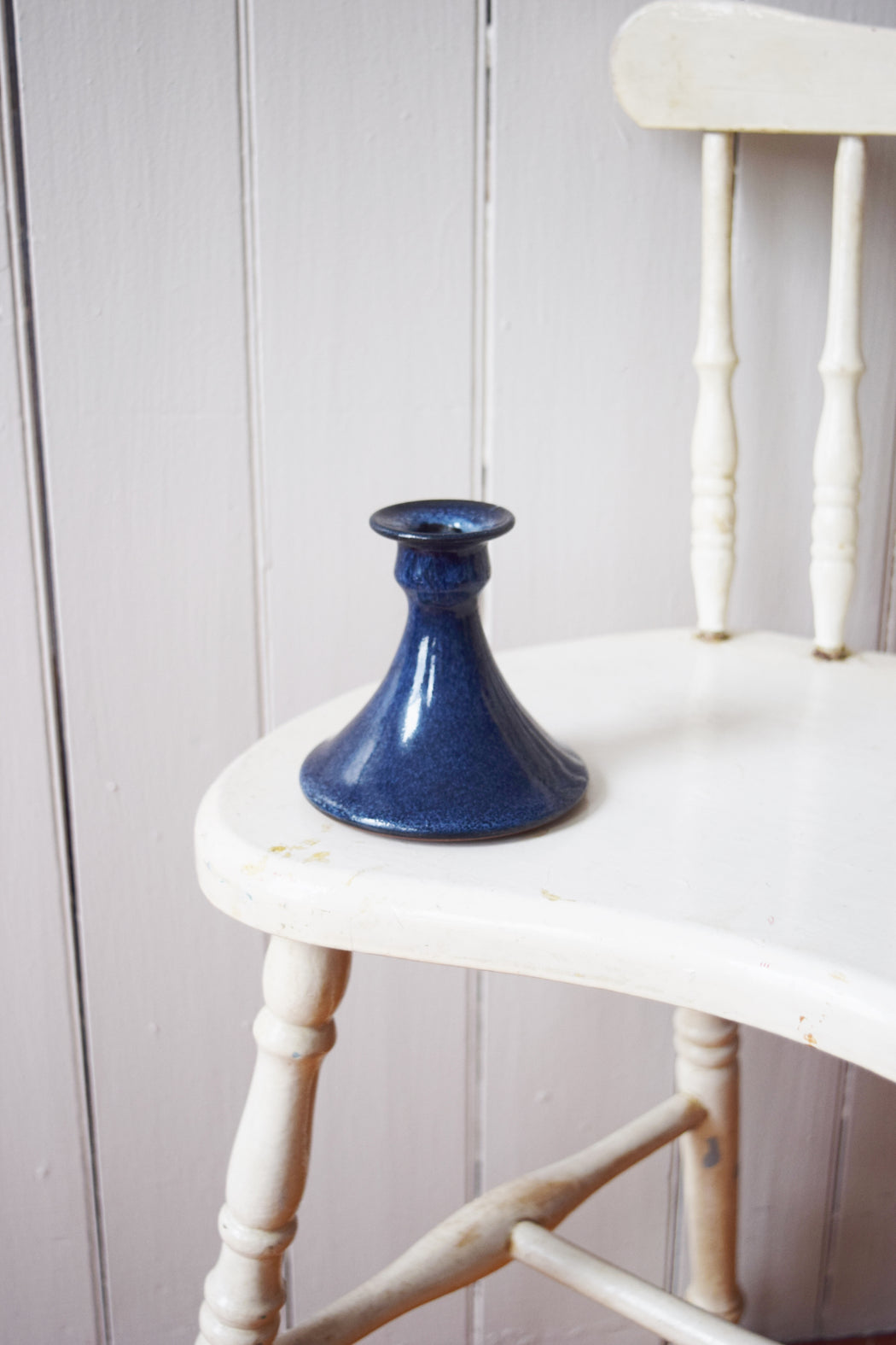 Blue Glazed Studio Pottery Candlestick