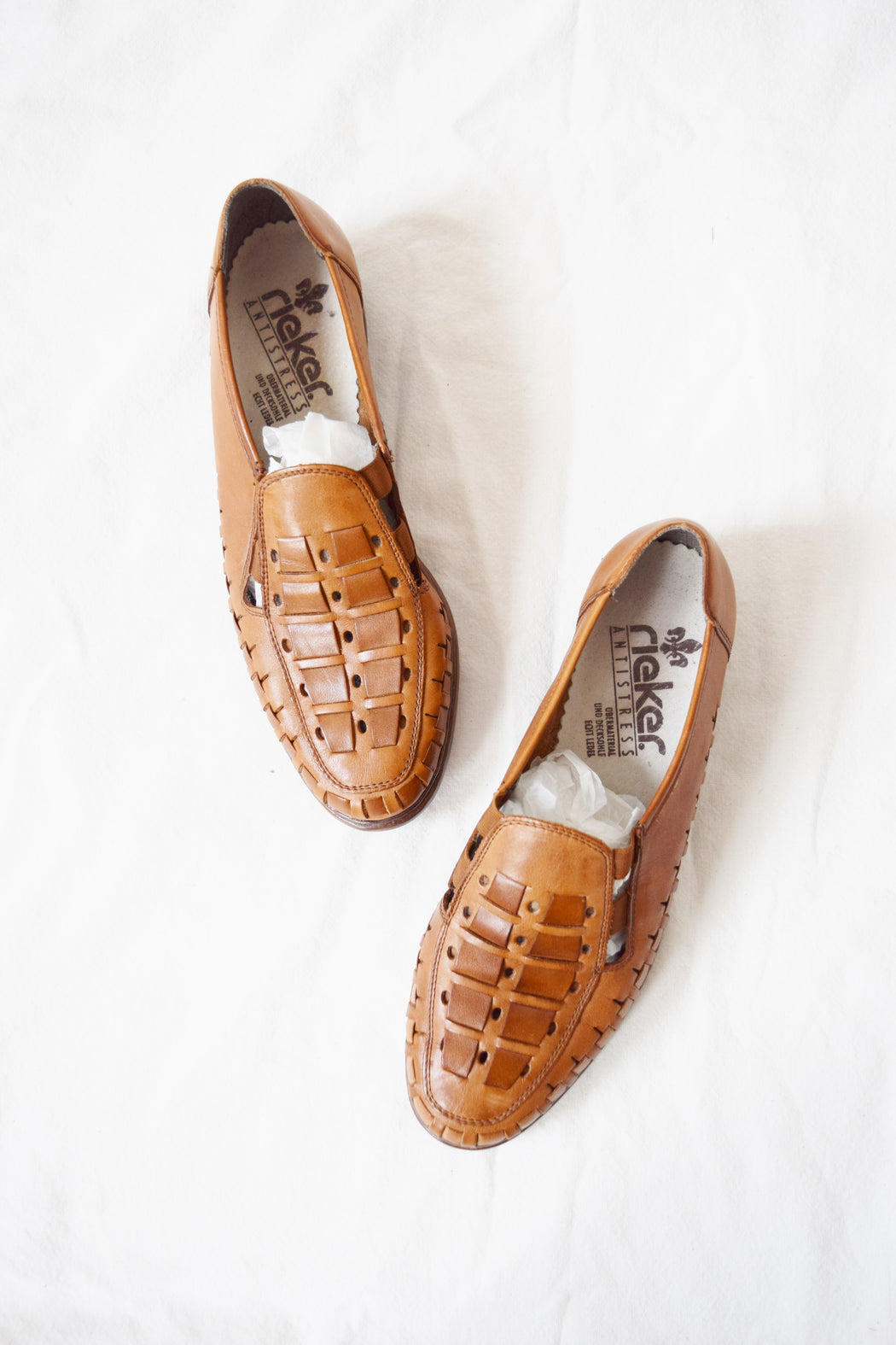 1970s Woven Leather Slip On Mules | US 9