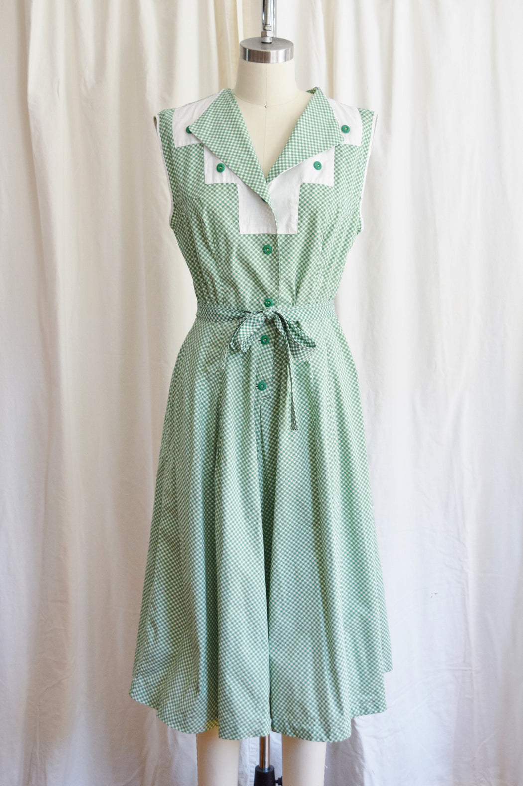 "1930s Green Gingham Day Dress | 28"" W, approx. Medium"