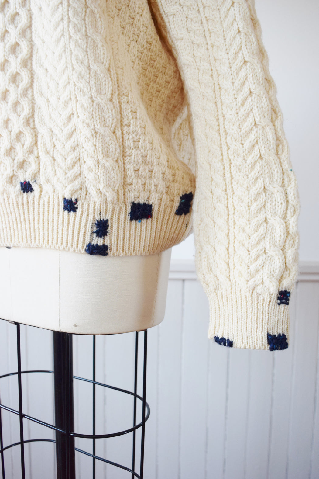 Make-Do Wool Sweater | Irish Cableknit with Custom Mends
