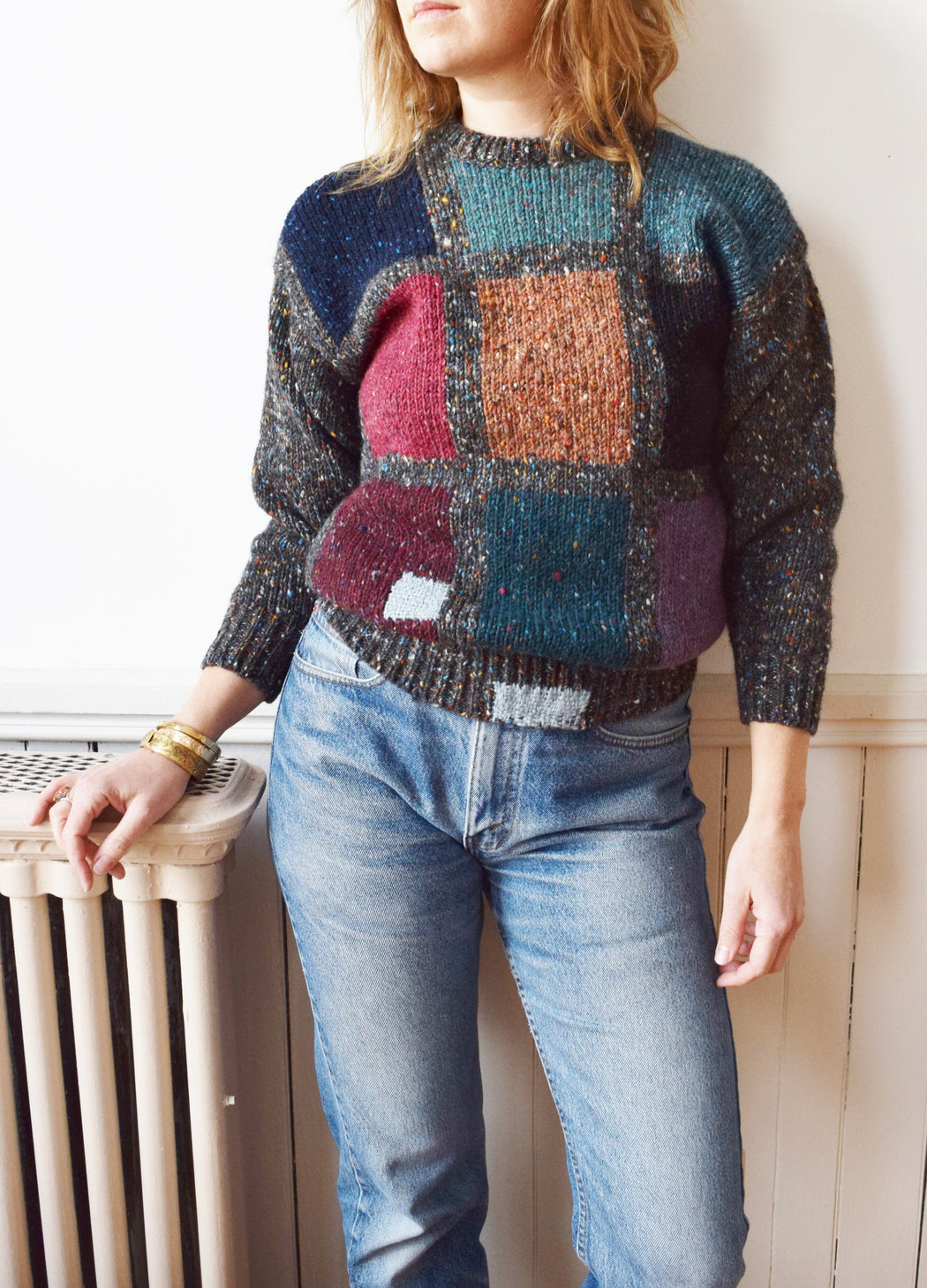 Hand Darned Vintage Irish Intarsia Sweater | S