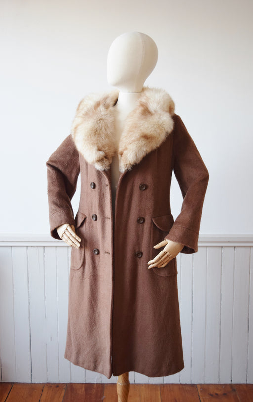 SALE Fox Fur Trimmed Mohair Coat | S/M