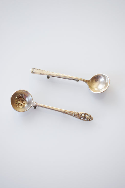 Pair of Vintage Sterling Silver Salt Spoon Pins