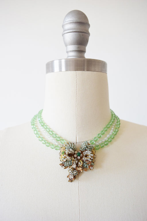 Original by Robert Bead and Rhinestone Necklace + Clips Set | 1940s/50s
