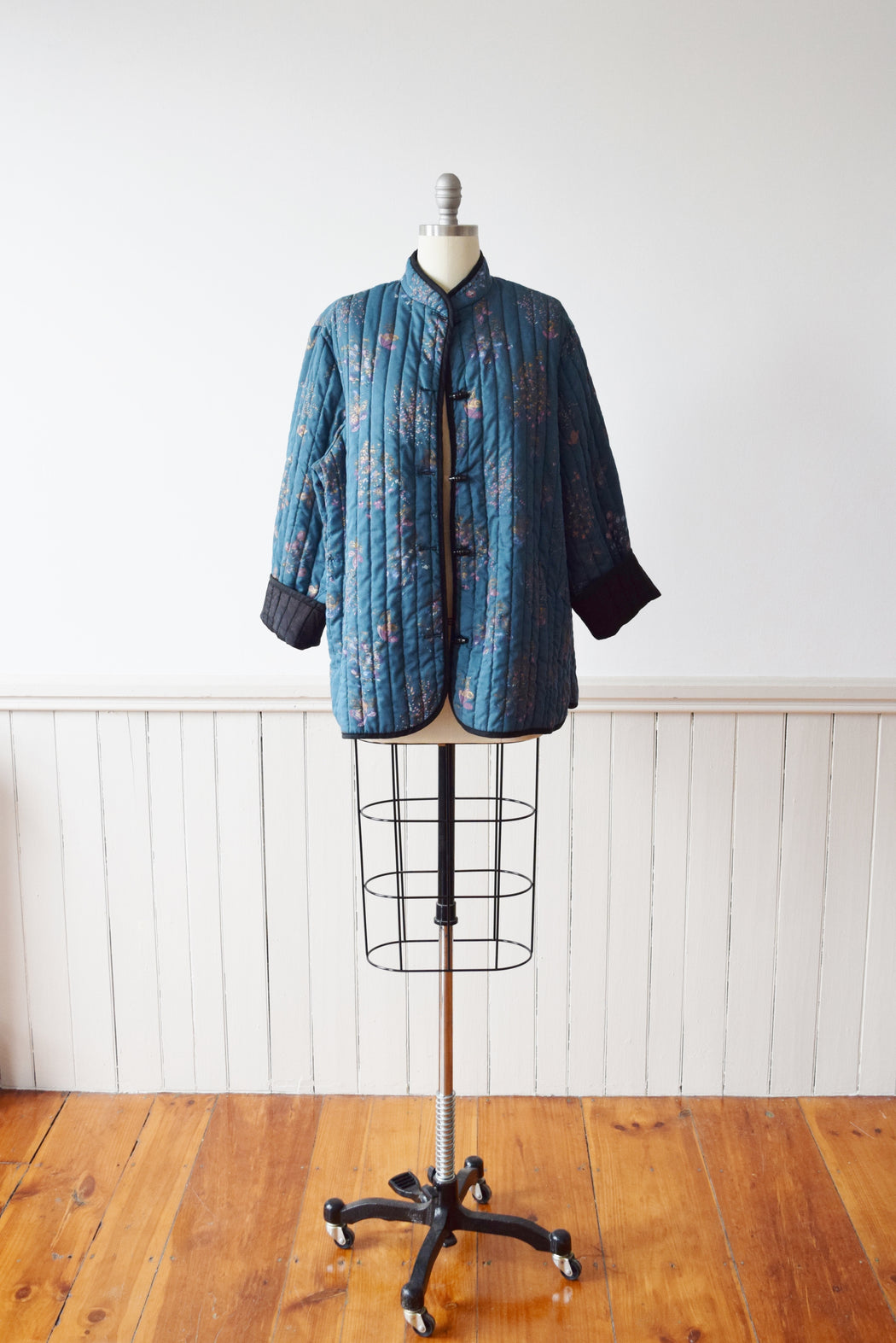RESERVED 1970s Teal Blue Quilted Jacket | Vintage Quilted Jacket | L