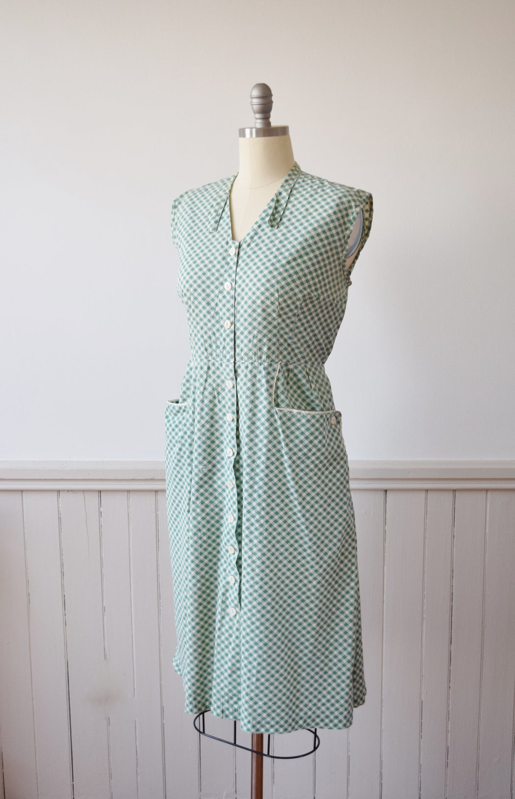 1930s/1940s Green + White Gingham Frock | Day Dress