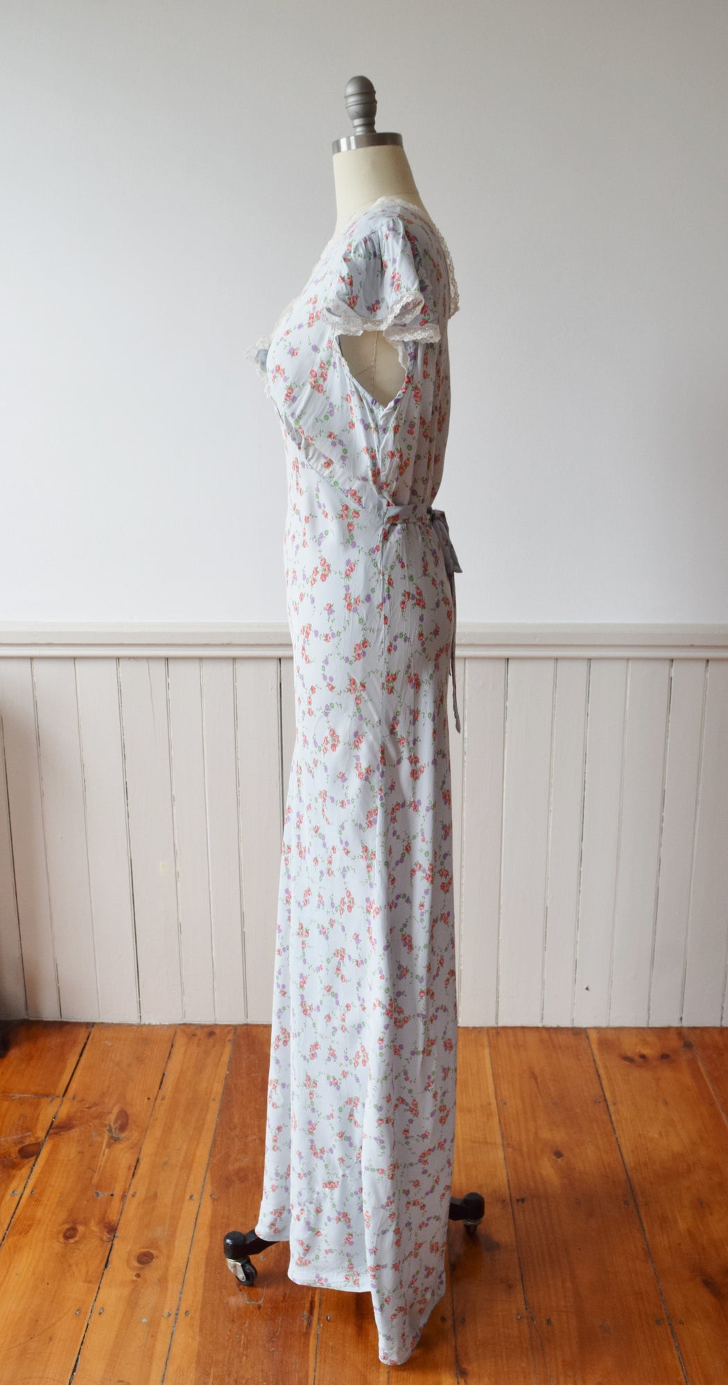 Vintage Bias Cut Nightgown Dress | 1930s | L