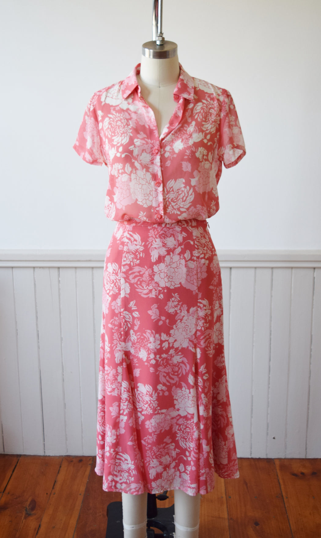 30s Style Pink Floral Dress Set | 1990s | S