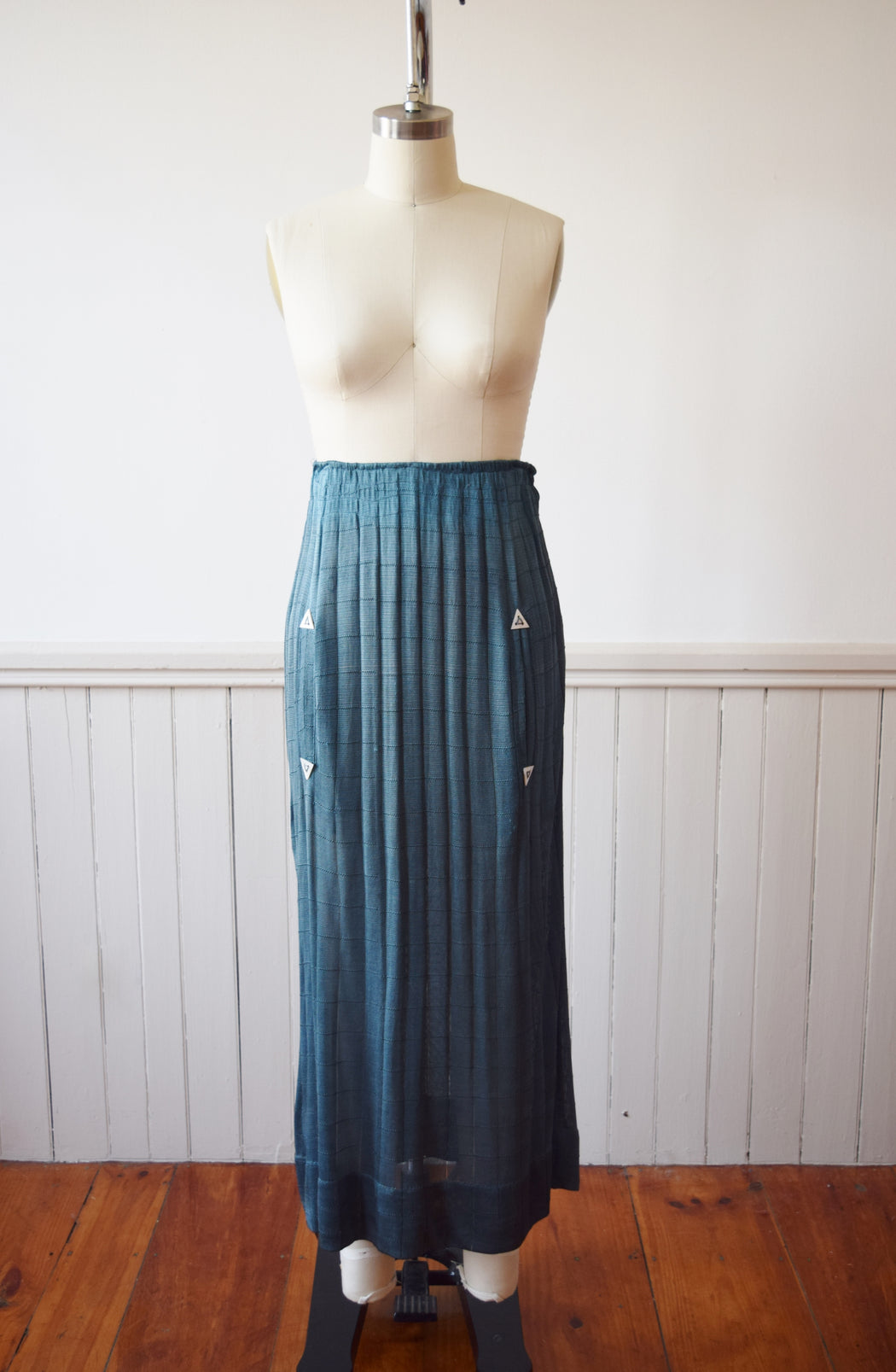1920s Peacock Blue Knit Skirt | XS/S