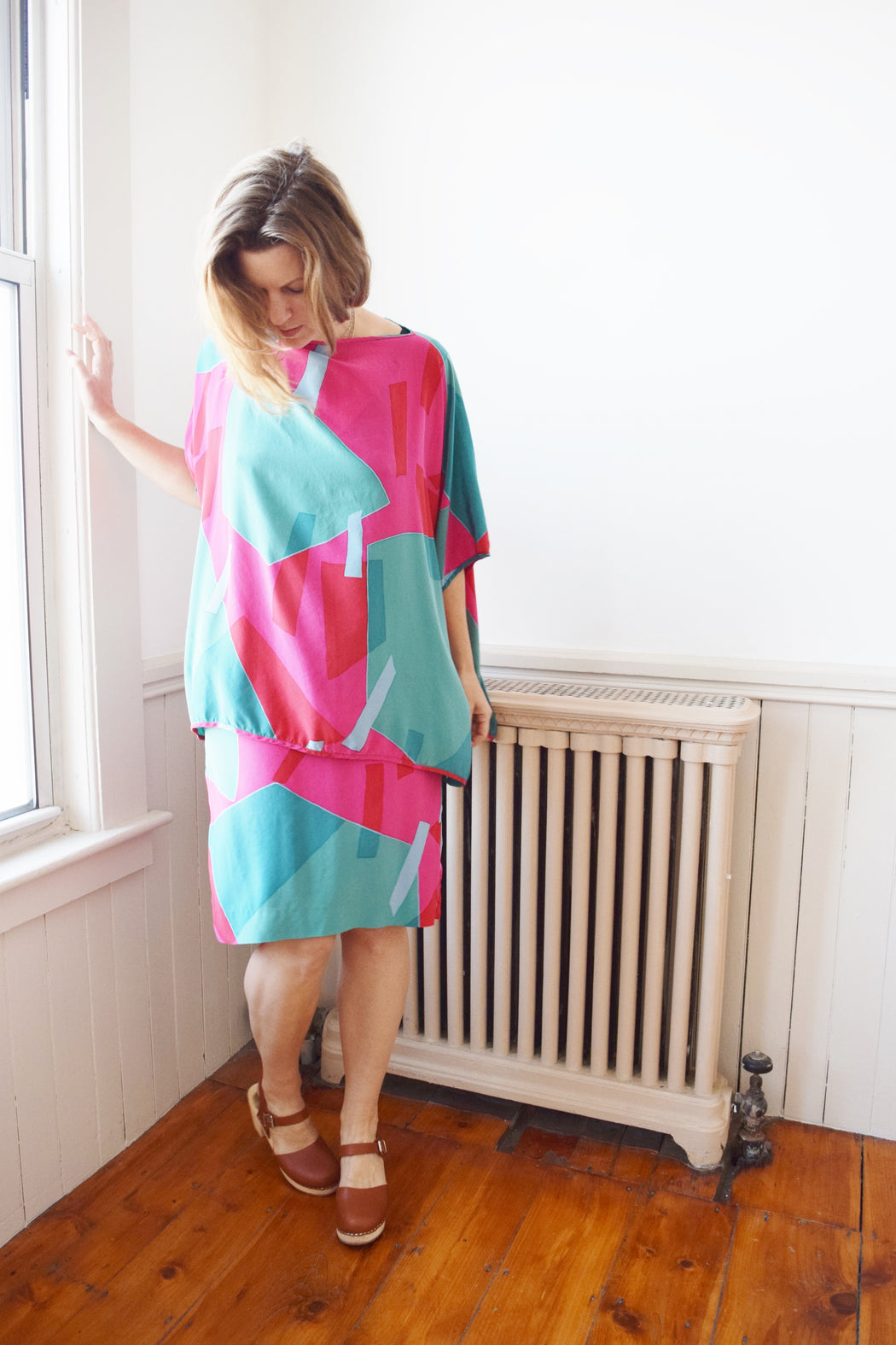 Silk Tunic and Skirt Set in Abstract Watermelon | S/M