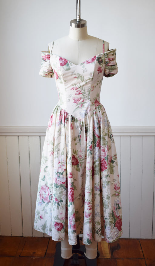 1980s Romantic Floral Dress by Karin Stevens | XS/S