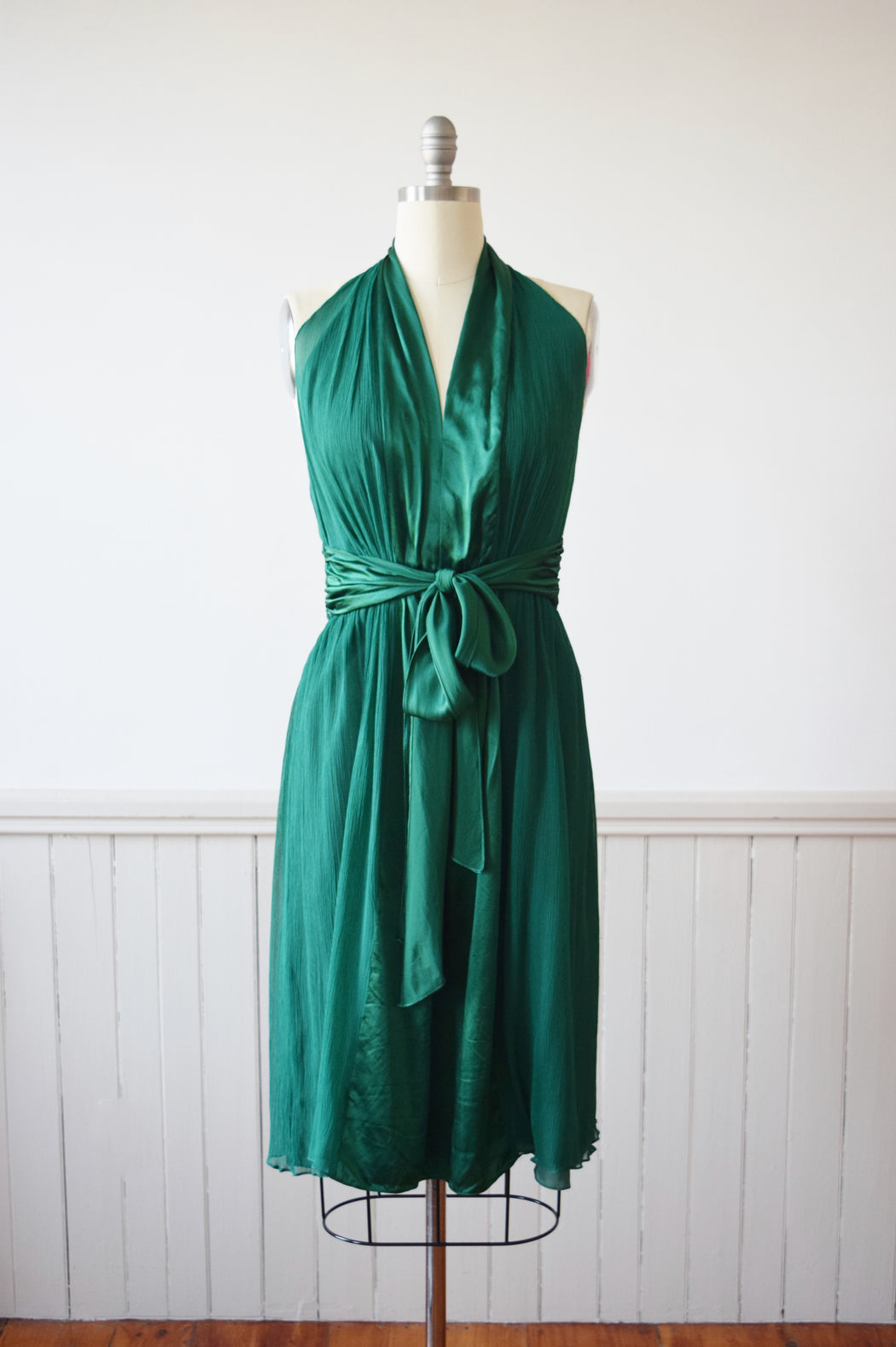 Emerald Green Silk Halter Dress | M