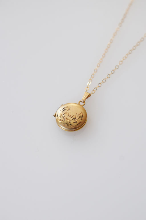 Petite Vintage Gold Locket | Half Flower Motif