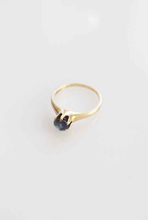 Antique 10k Gold and Aquamarine Stacking Ring | 6.5