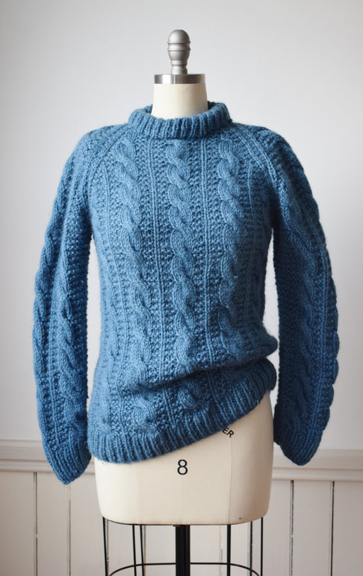 Indigo Dyed Wool Cable Knit Sweater: S/M