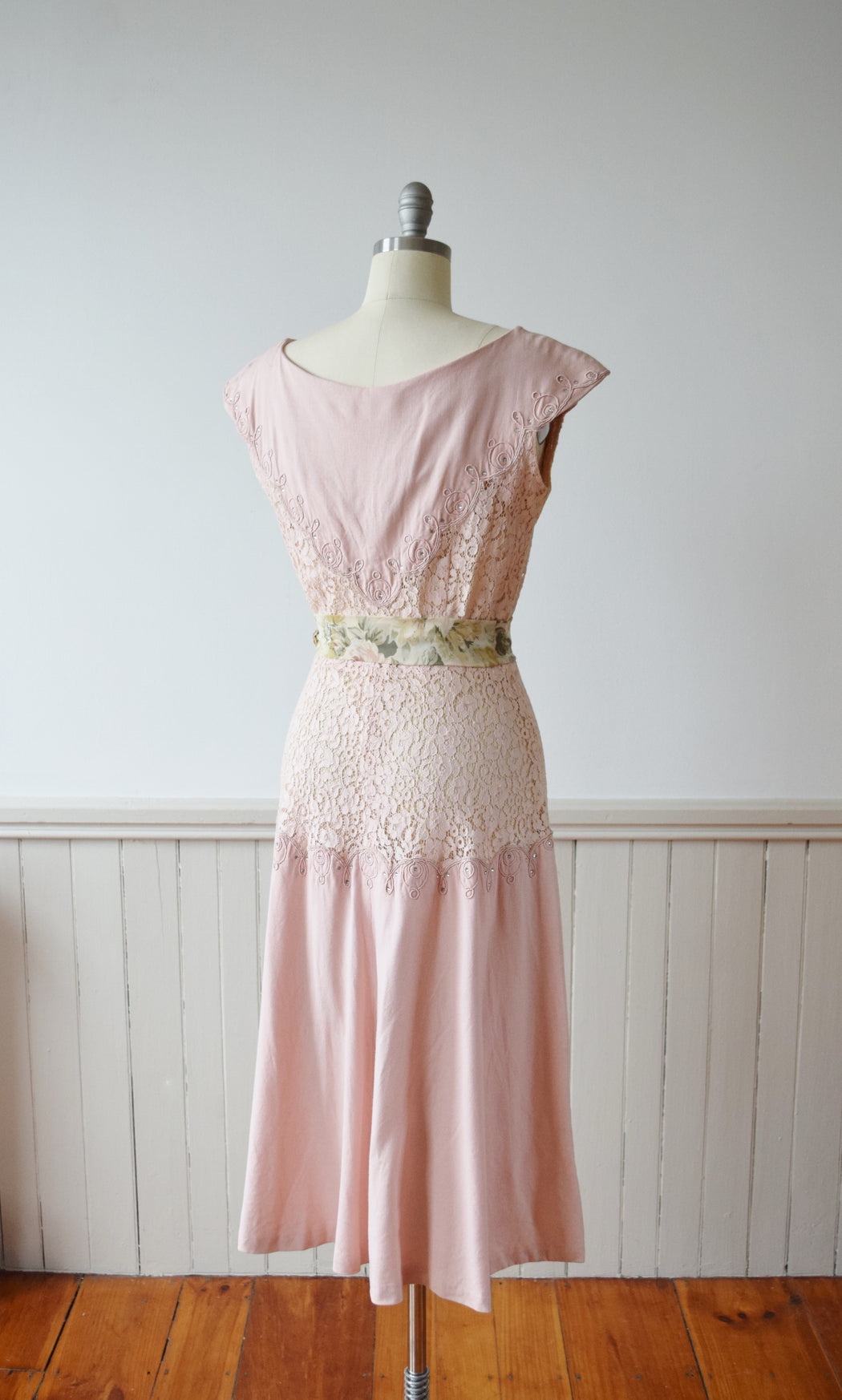 Blush Pink Lace Bodice Dress with Rhinestones | M