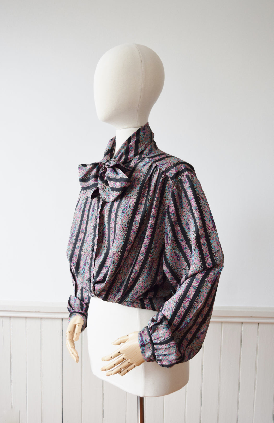 1980s Stripes + Paisleys Secretary Blouse | L