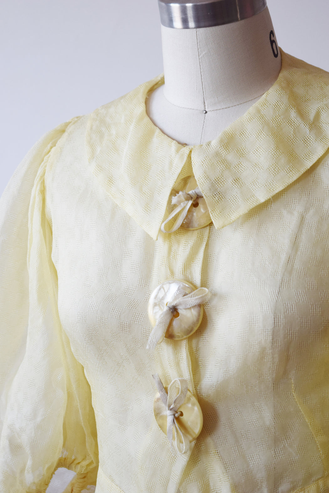 Lemon Yellow Puff Sleeve Blouse | 1930s | XXS/XS