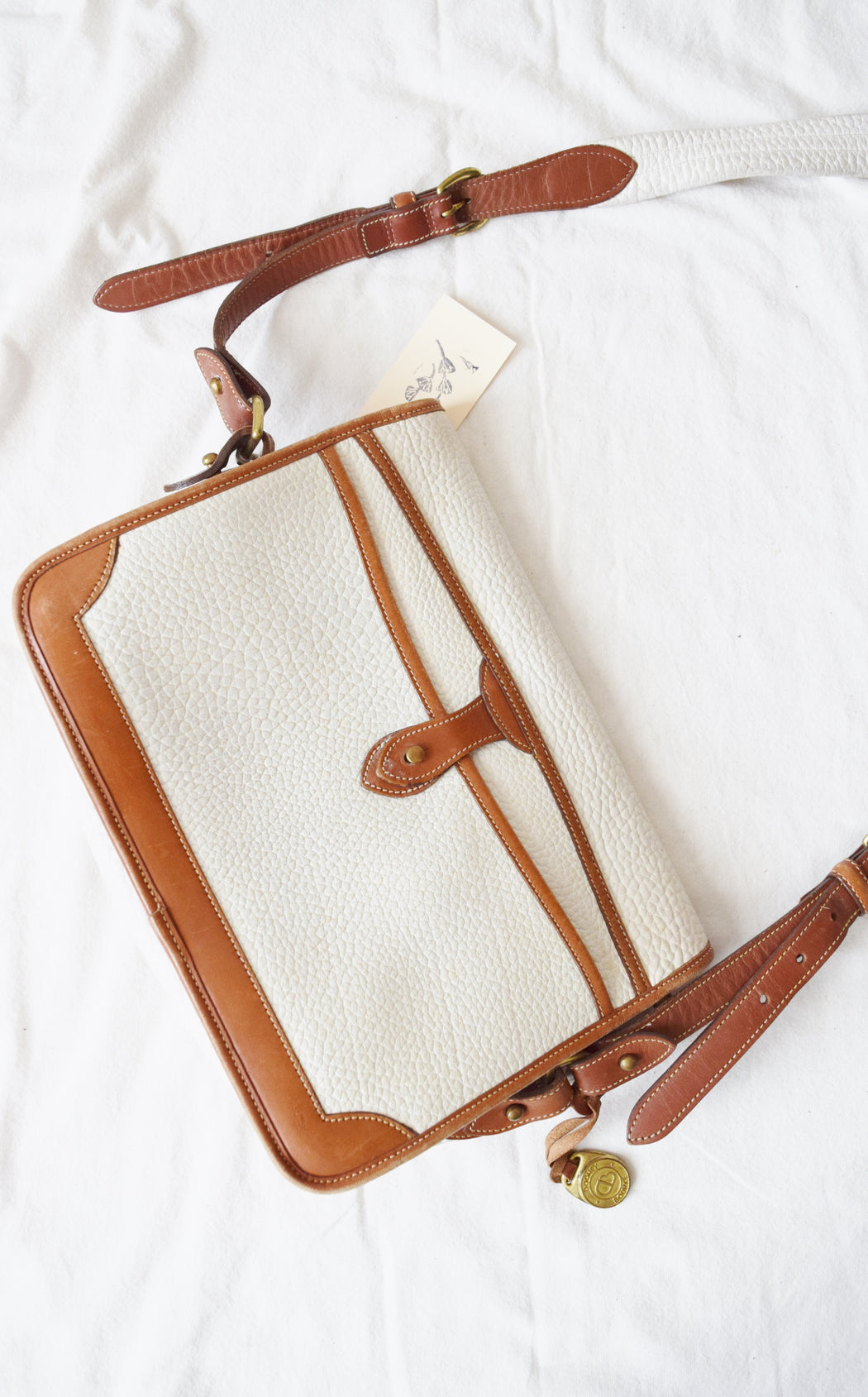 Vintage Dooney & Bourke All Weather Leather Crossbody Bag / Purse in White and British Tan