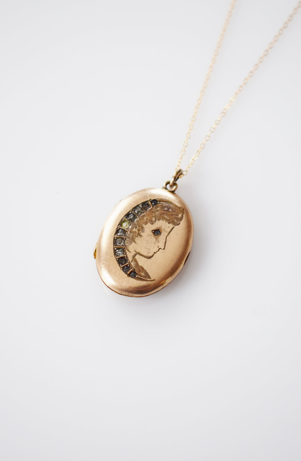 Antique Lady in the Moon Locket