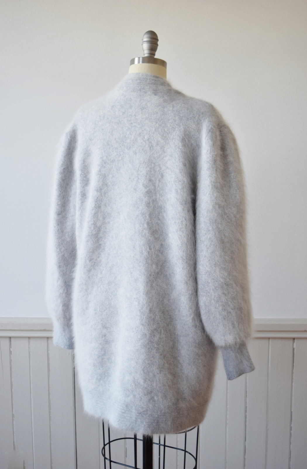 Gray Angora Clutch Cardigan | OS