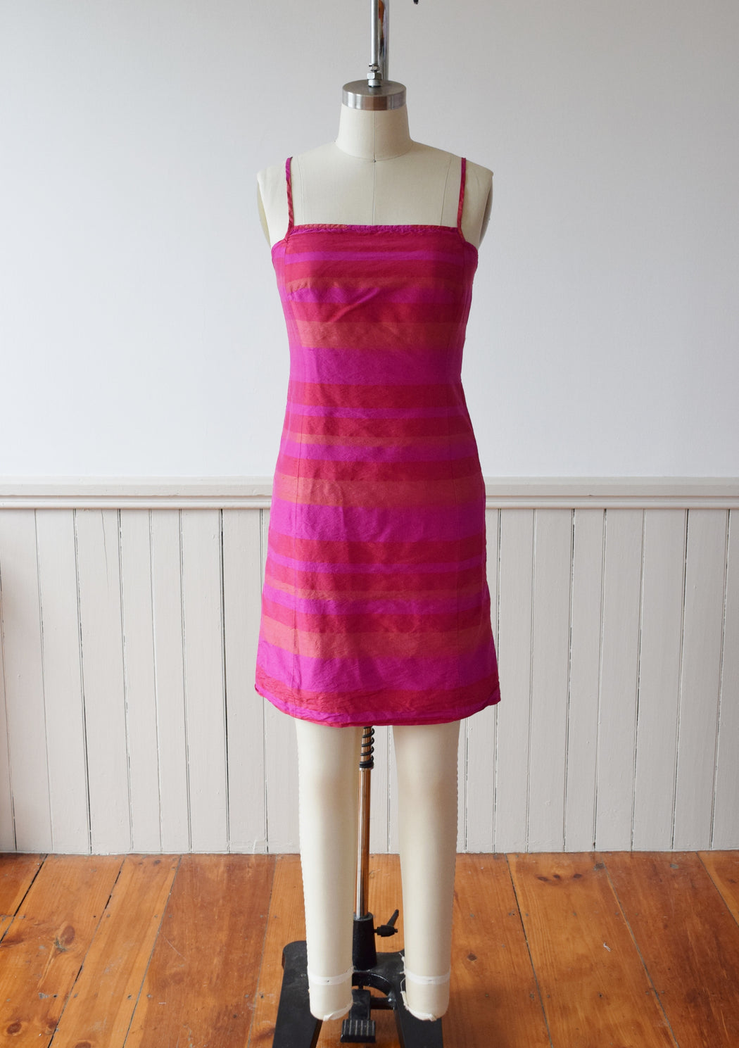 1990s Madras Silk Sheath Mini Dress | S