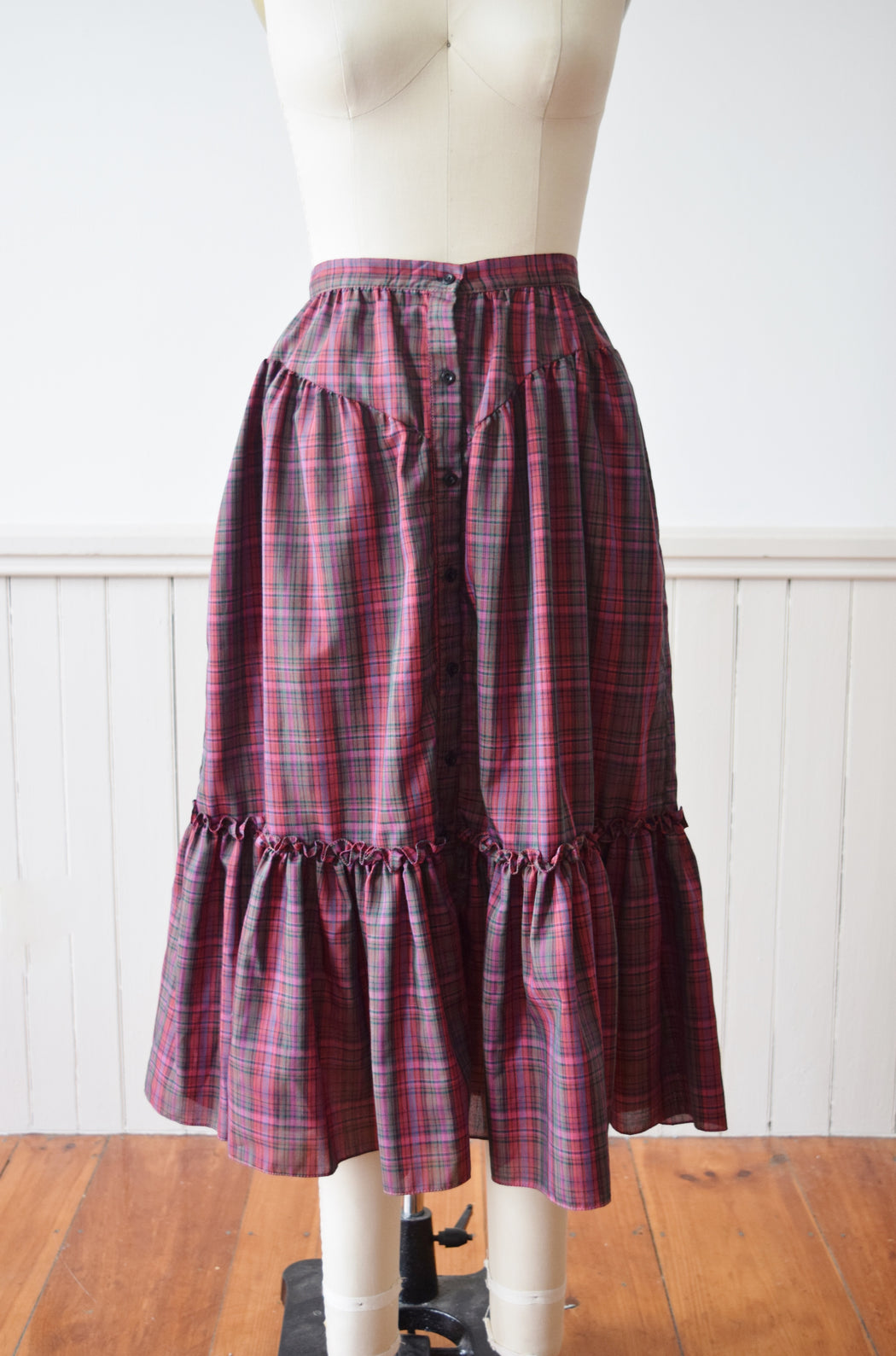 1970s Autumnal Plaid Midi Prairie Skirt | S