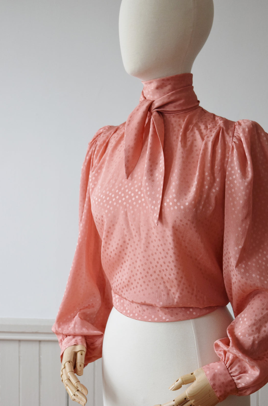 Peachy Silky Secretary Blouse | 1980s Pink Satin Blouse with Bishop Sleeves | M