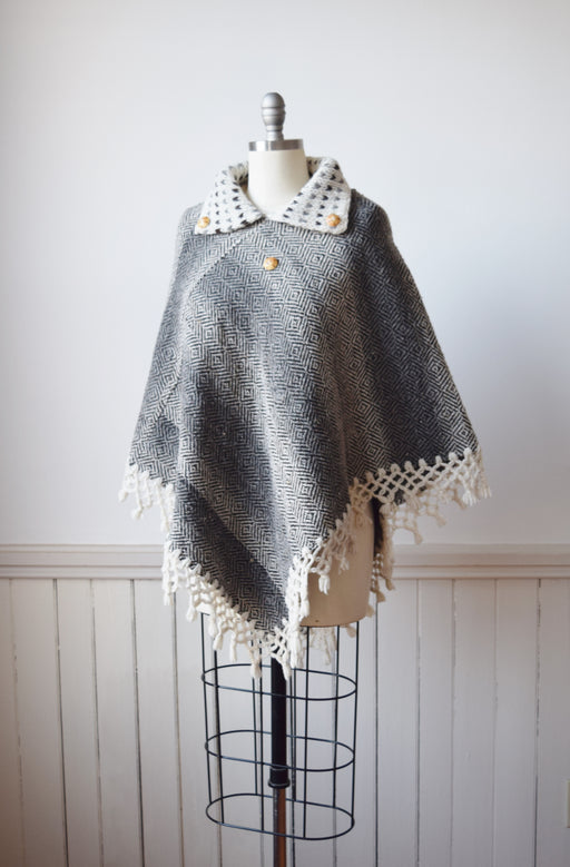 Hand Woven Wool Poncho | OS