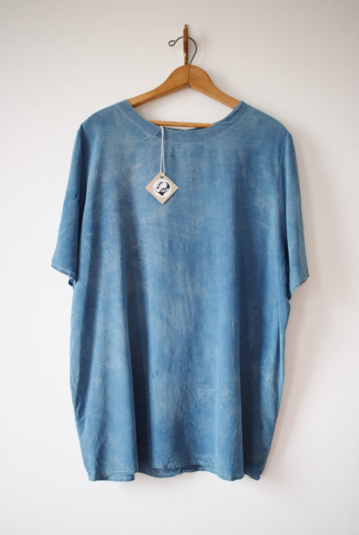 Indigo Dyed Silk Top | XL