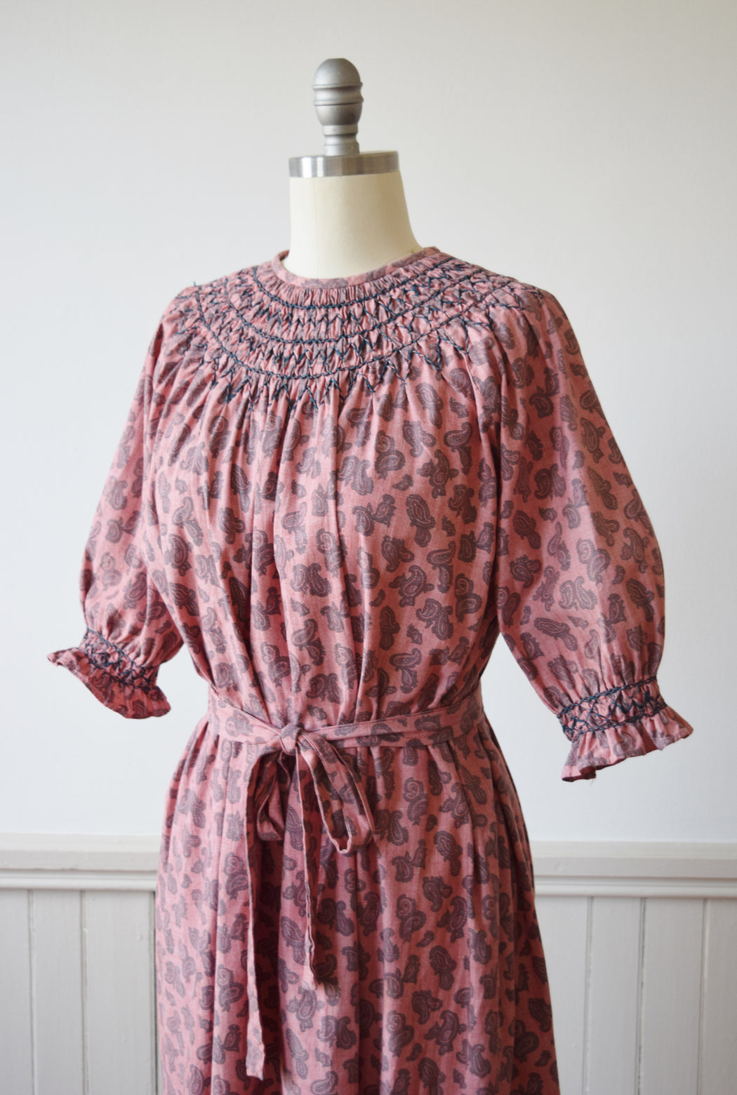 Smocked Paisley Print Tent Dress | 1970s | XS/S