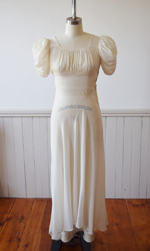 1930s Ivory Silk Gown | XS
