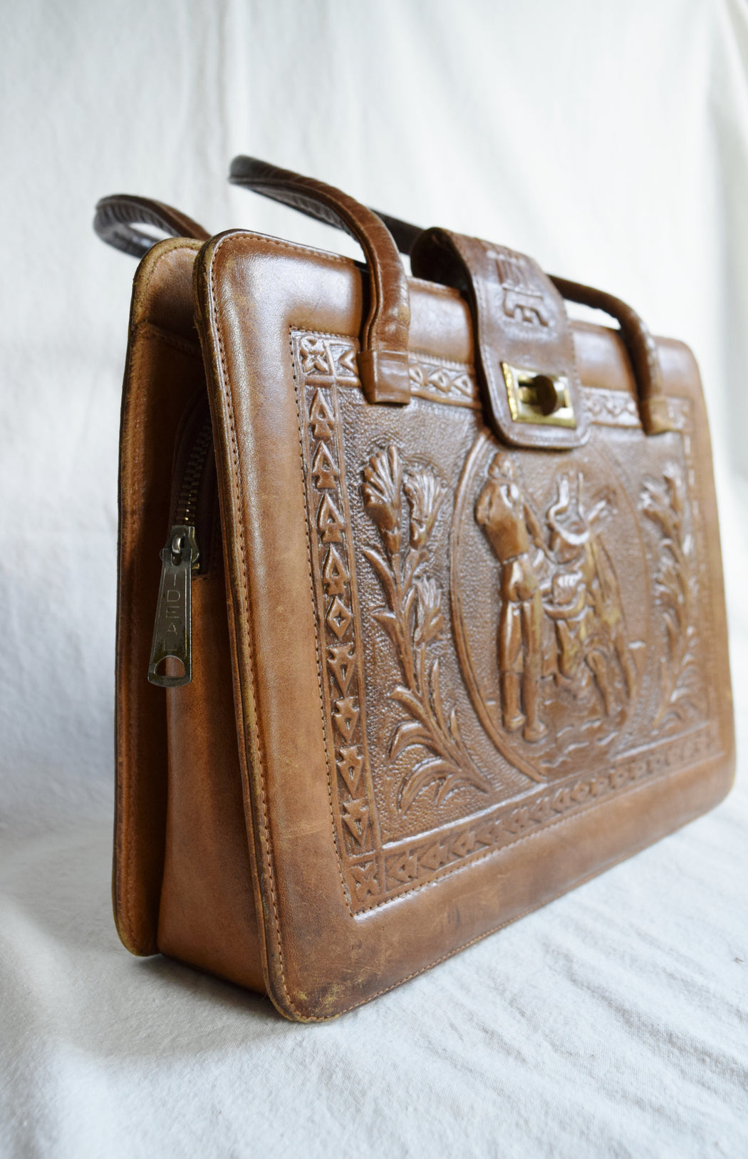 1970s Mexican Tooled Leather Bag by Mont Abur