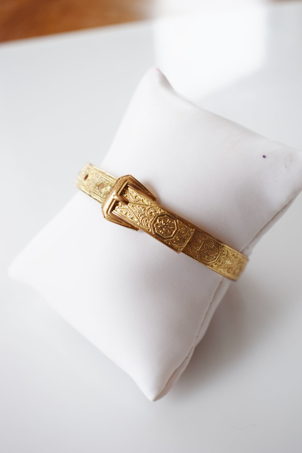 Victorian Revival Gold Buckle Bangle Bracelet