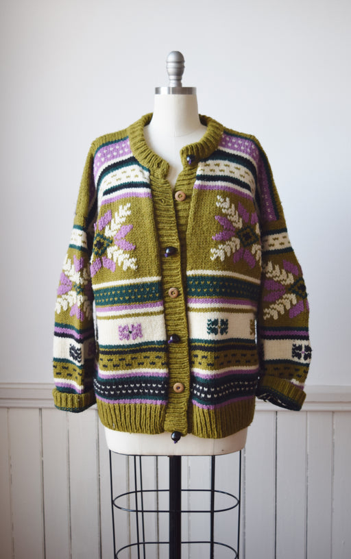 Chunky Wool Cardigan with Kukui Nut Buttons | OS