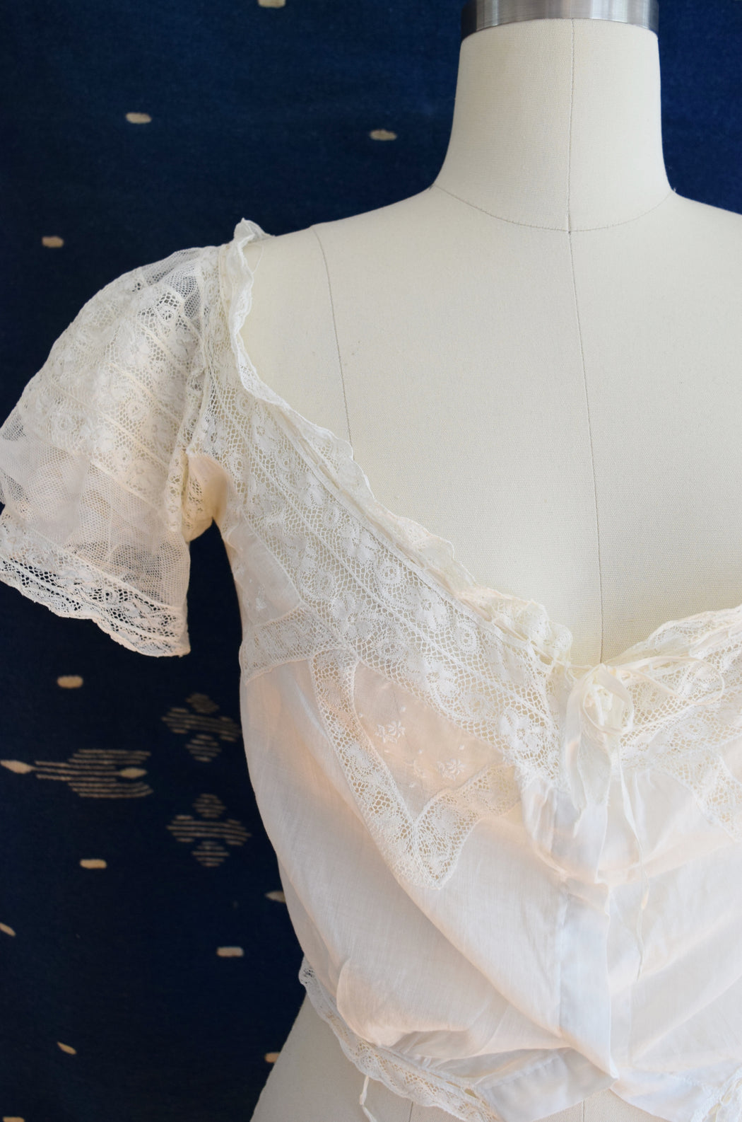 Antique Cotton and Lace Blouse | Corset Cover