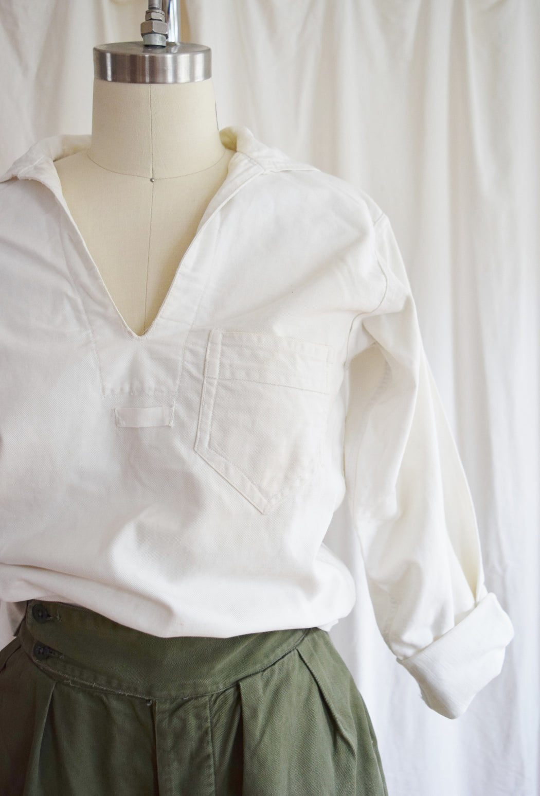 Early 20th Century Navy-Issue White Canvas Shirt