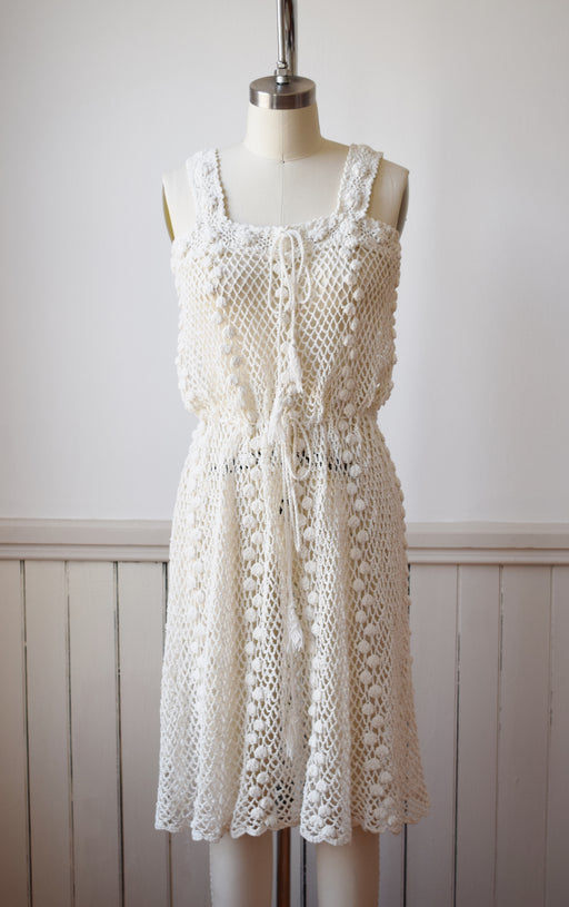 1970s Cotton Popcorn Crochet Dress | S/M
