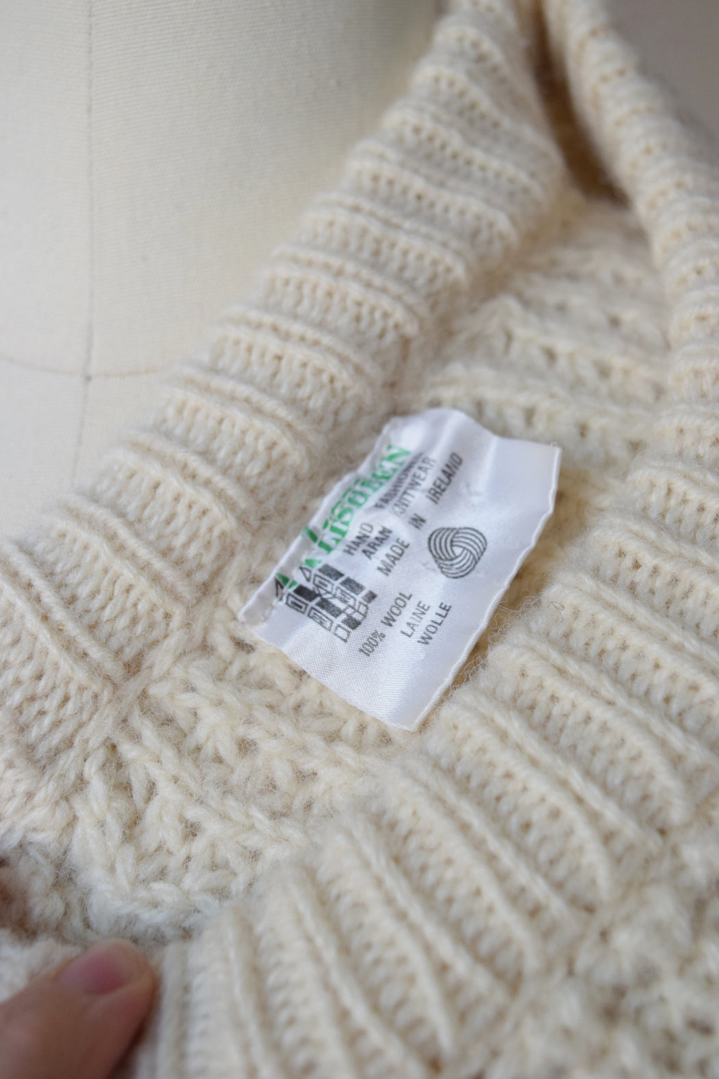 Irish Cable Knit with Contrast Mend Patches | M